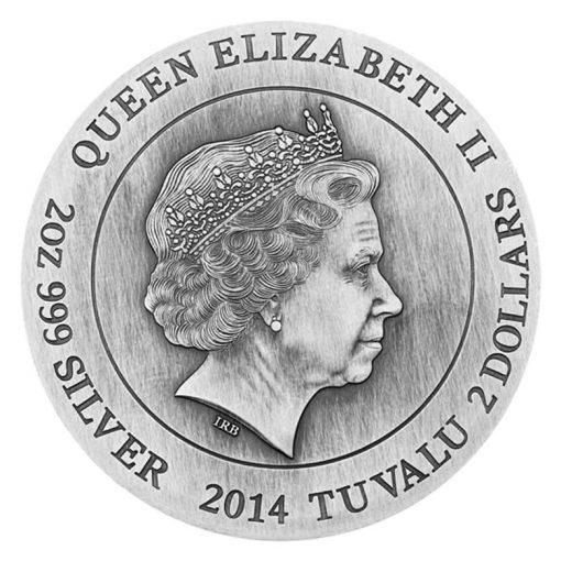 2014 Zeus High Relief 2 oz Silver Coin - Obverse