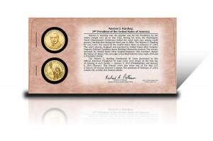 Back of 2014 Warren G. Harding $1 Coin Cover