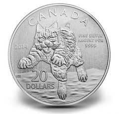Canadian 2014 $20 Bobcat Silver Coin for $20
