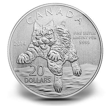 Canadian 2014 $20 Bobcat Silver Coin