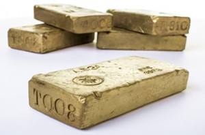 Five gold bullion bars