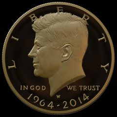 Mockup Image of 2014 24K Gold Kennedy Half Dollar with date of 1964-2014