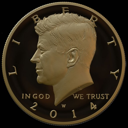 Mockup Image of 2014 24K Gold Kennedy Half Dollar with date of 1964