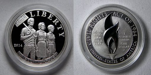 Photo of 2014-P Proof Civil Rights Act of 1964 Silver Dollar