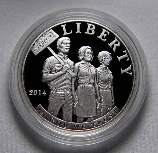 Photo of 2014-P Proof Civil Rights Act of 1964 Silver Dollar - Obverse
