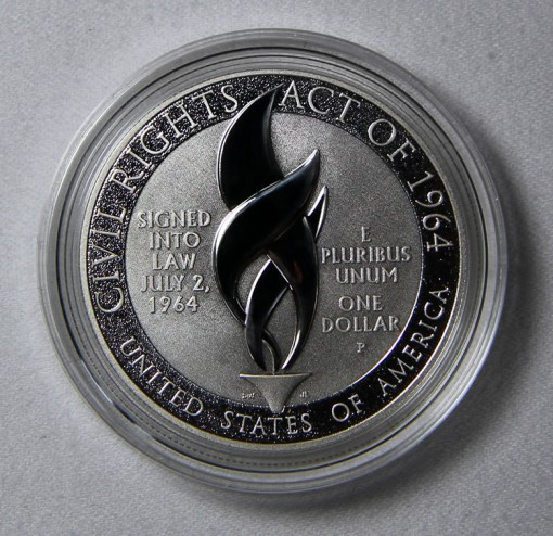 Photo of 2014-P Proof Civil Rights Act of 1964 Silver Dollar - Reverse