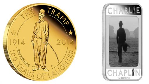 Reverses of 2014 Charlie Chaplin, 100 Years of Laughter, Gold and Silver Coins