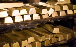 Shelves of gold bullion bars