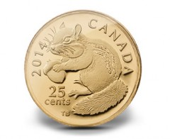 2014 25c Canadian Chipmunk Gold Coin at 0.5 Grams