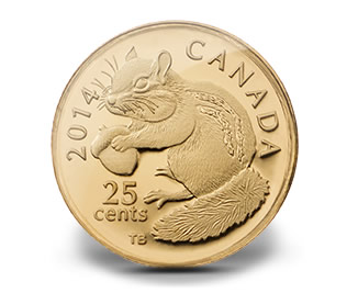 2014 25c Canadian Chipmunk Gold Coin