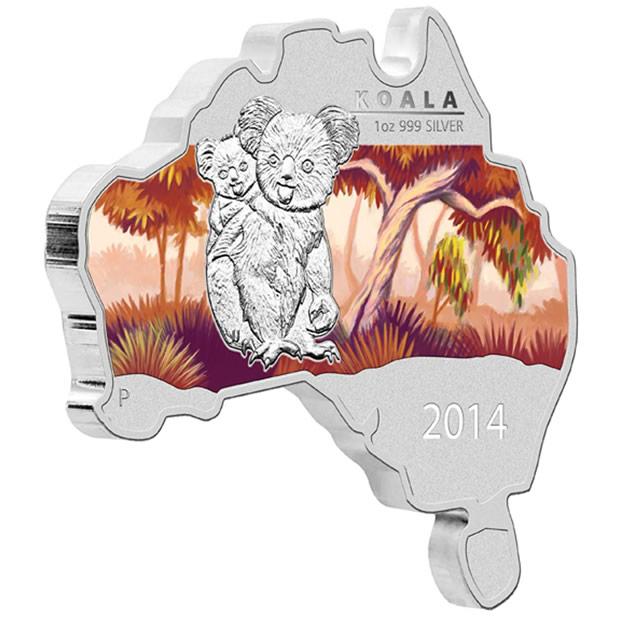2014 Australian Map Shaped Koala Silver Coin
