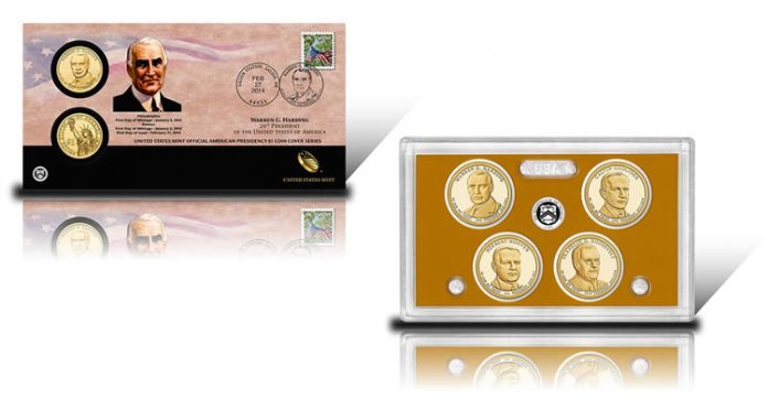 2014 Harding $1 Coin Cover, 2014 Presidential Proof Coins