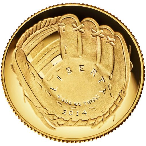 2014 National Baseball Hall of Fame Proof $5 Gold Coin - Obverse