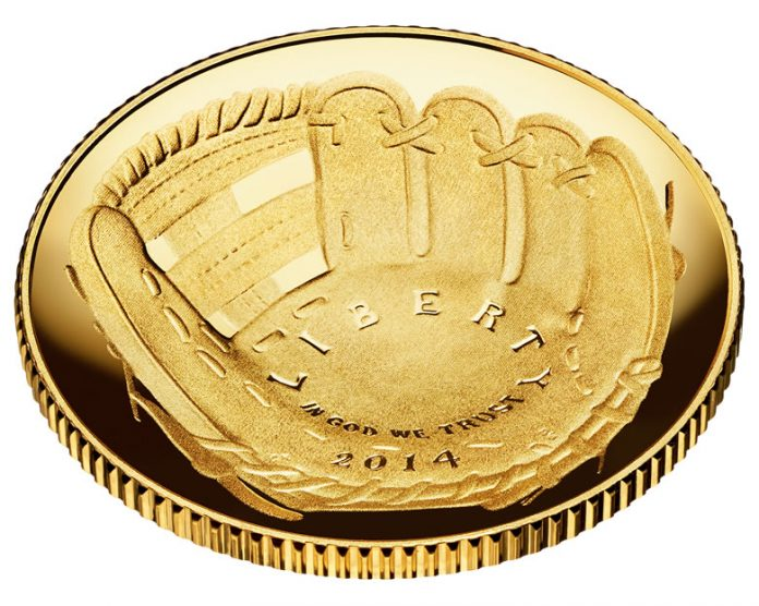 2014 National Baseball Hall of Fame Proof $5 Gold Coin - Obverse, Angled