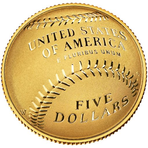 2014 National Baseball Hall of Fame Proof $5 Gold Coin - Reverse