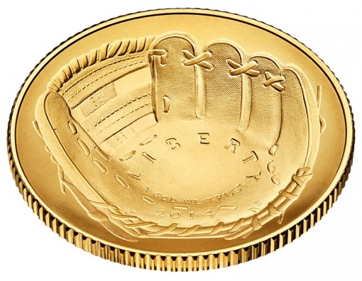 2014 National Baseball Hall of Fame Uncirculated $5 Gold Coin - Obverse, Angled