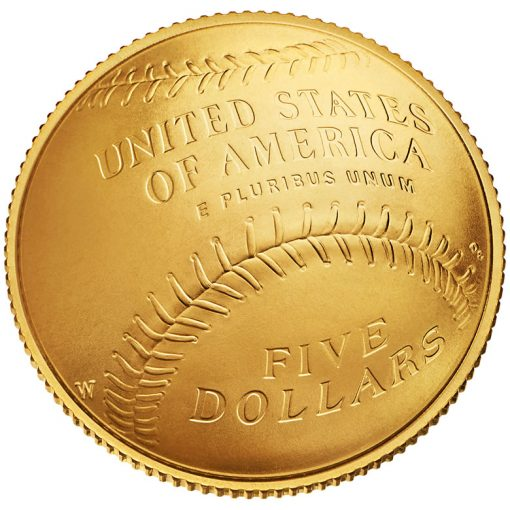2014 National Baseball Hall of Fame Uncirculated $5 Gold Coin - Reverse