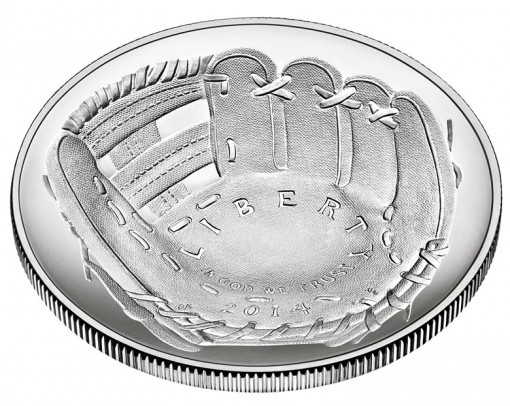 2014 National Baseball Hall of Fame Uncirculated Silver Dollar - Obverse, Angled