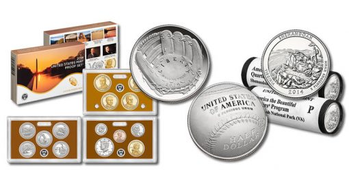 2014 Proof Set, Baseball Clad Half-Dollar Coin, and Shenandoah Quarters
