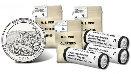 Bags and Rolls of 2014 Shenandoah Quarters