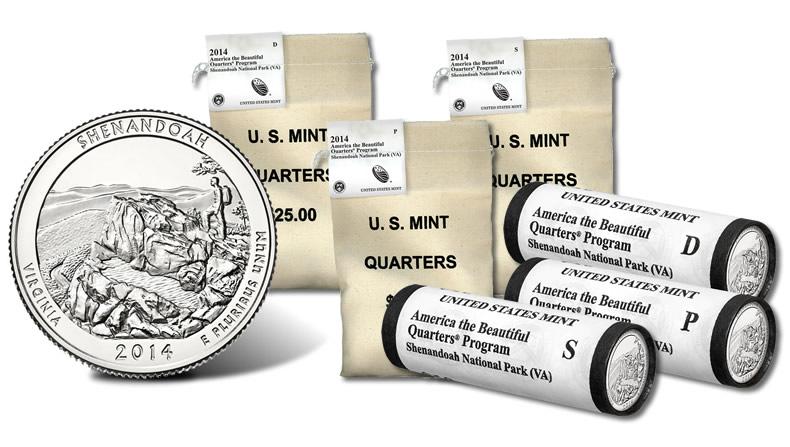 2014 US Shenandoah Park Quarter Set One P/&One D From Mint Rolls