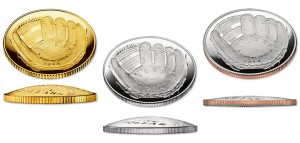 Curved 2014 National Baseball Hall of Fame Commemorative Coins in Gold, Silver and Clad