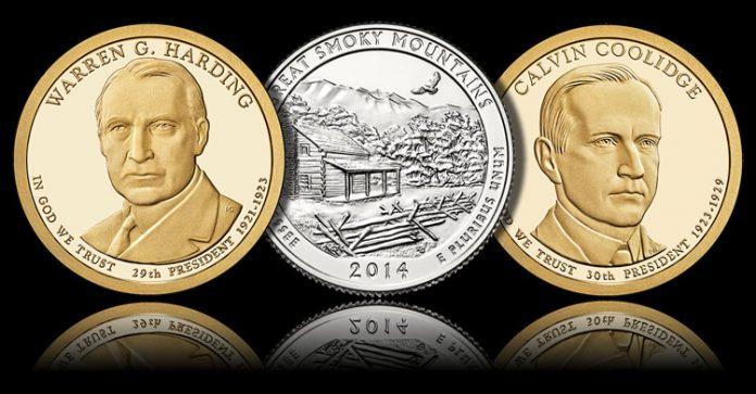Harding $1, Smoky Mountains Quarter and Coolidge $1
