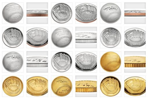 Images of the 2014 National Baseball Hall of Fame Commemorative Coins