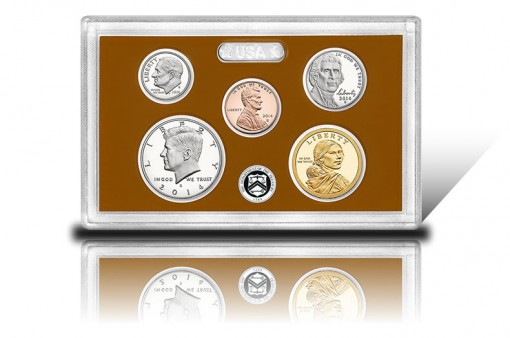 Lens with Five 2014-S Proof Coins