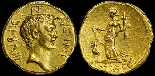 Marc Antony died 30 B.C. Gold Portrait Aureue
