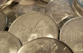 Pile of bullion Silver Eagles