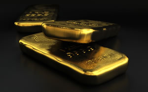Three Gold Bullion Bars, Dark Background
