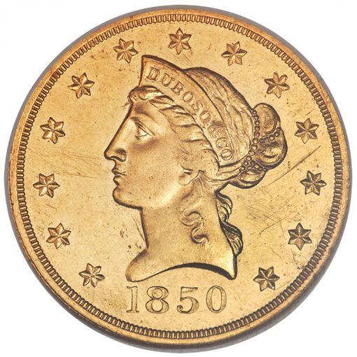 1850 Dubosq and Co. Ten Dollar Gold Coin - Obverse