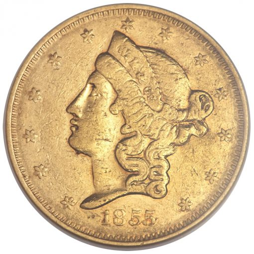 1855 Wass, Molitor and Co. Twenty Dollar Gold Coin - Obverse