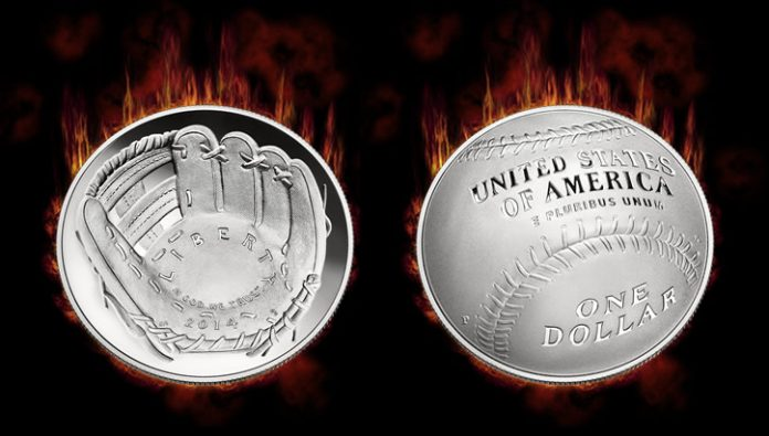 2014 $1 National Baseball Hall of Fame Commemorative Silver Coins