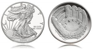2014 Proof Silver Eagle and 2014 Proof National Baseball HOF Half-Dollar