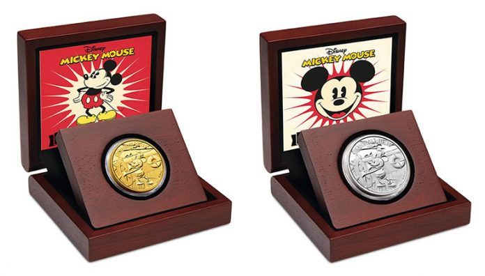 2014 Steamboat Willie Gold and Silver Coins in Presentation Cases