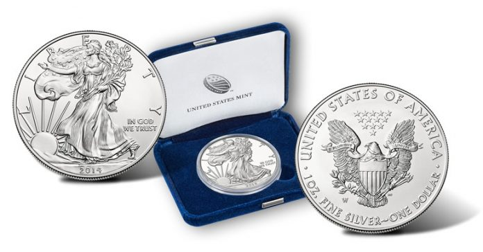 2014-W Uncirculated American Silver Eagle - Obverse, Coin Case and Reverse