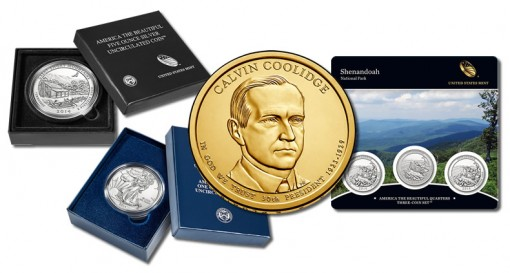 5 Oz Coin, Silver Eagle, Coolidge Dollar and Coin Set