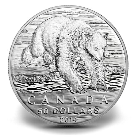 Canadian 2014 $50 Polar Bear Silver Coin