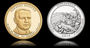 Herbert Hoover Presidential $1 Coin and Shenandoah National Park Quarter