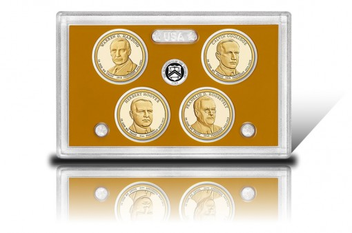 Lens with 2014-S Proof Presidential $1 Coins