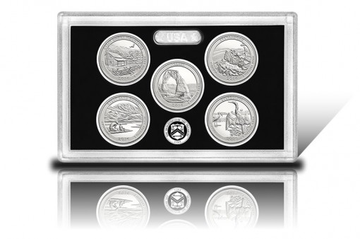 Lens with 2014-S Proof Silver America the Beautiful Quarters