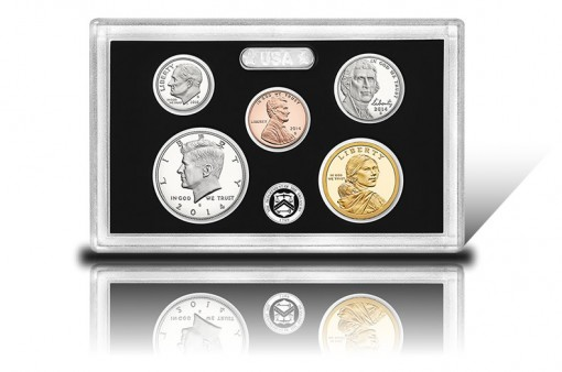 Lens with Five 2014-S Proof Coins - Three Silver and Two Clad