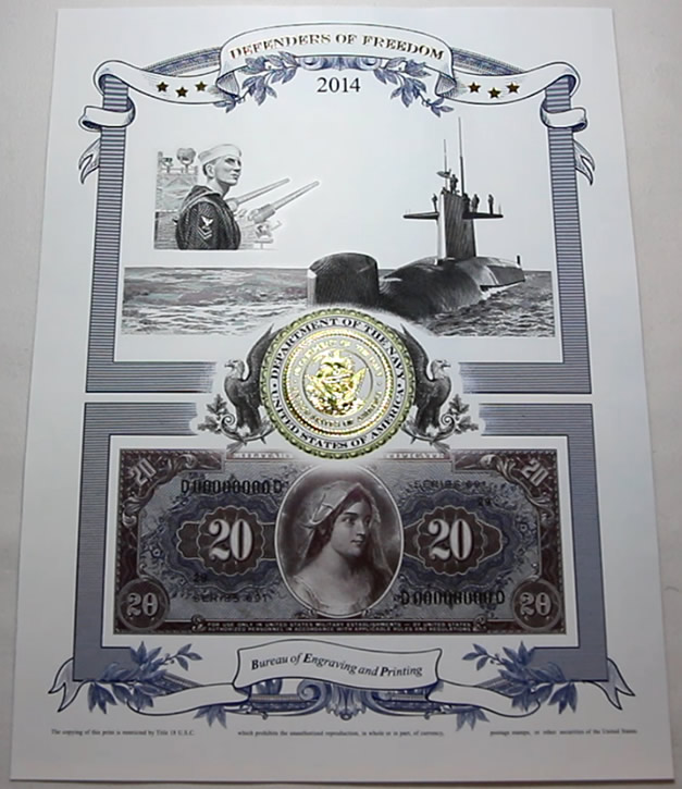 Photo of the 2014 Navy Intaglio Print from Defenders of Freedom Series