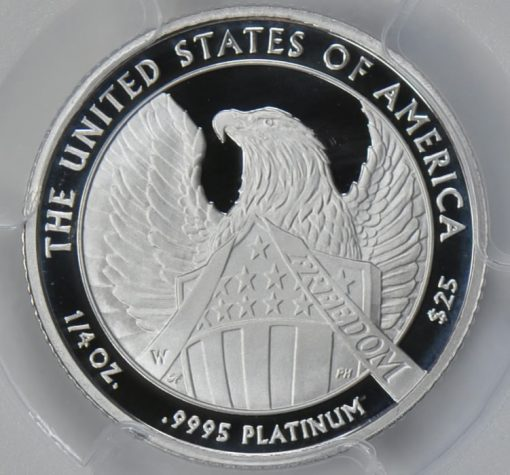 Reverse, 2007 $25 Platinum Eagle, Frosted Freedom variety