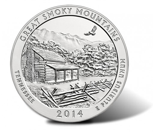 Reverse of the Great Smoky Mountains National Park Silver Coin