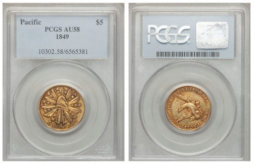 1849 $5 Pacific Company Five Dollar AU58 PCGS