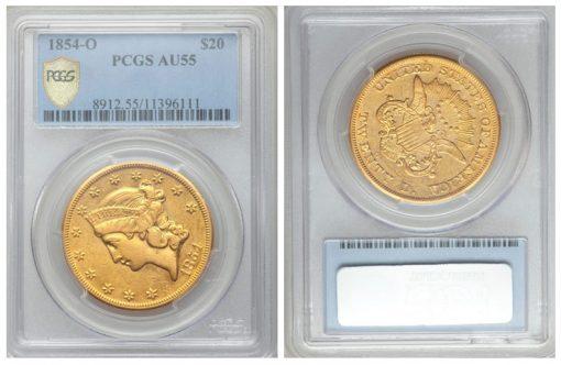 1854-O $20 AU55 PCGS Secure
