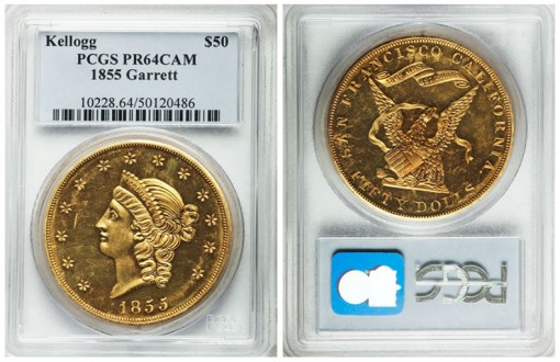 1855 $50 Kellogg & Co. Fifty Dollar PR64 Cameo PCGS